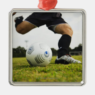 Football (Soccer) 5 Silver-Colored Square Decoration