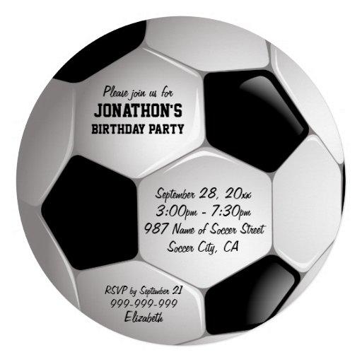 Football Soccer Ball Birthday Party Custom Invite