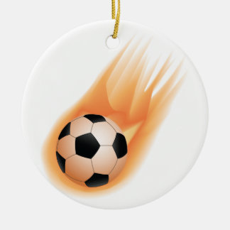 football, soccer ball fire christmas ornament