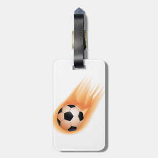 football, soccer ball fire luggage tag