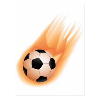 football, soccer ball fire postcard