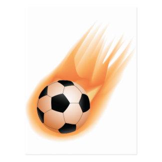 football, soccer ball fire postcard