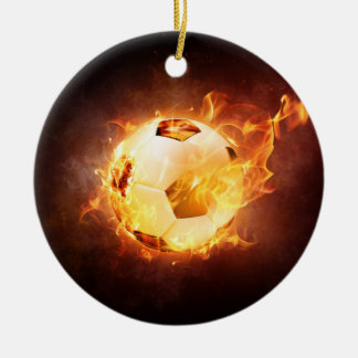 Football Soccer Ball on Fire Christmas Ornament