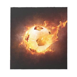 Football Soccer Ball on Fire Notepads