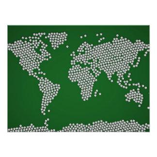Football Soccer Balls World Map Art Photo