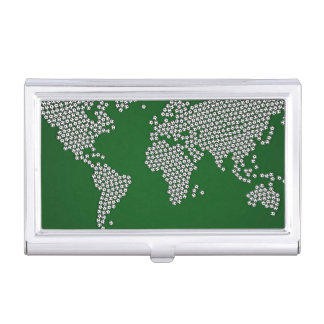 Football Soccer Balls World Map Business Card Holder