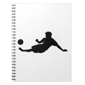 Football Soccer Black Silhouette Spiral Notebook