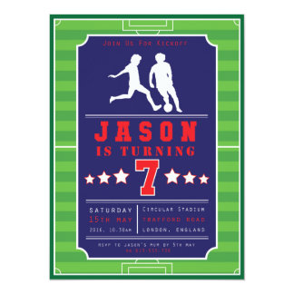 Football - Soccer - Boys - Birthday - Invitation