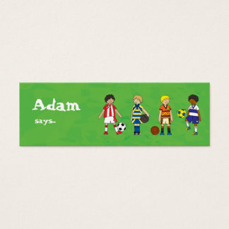 Football Soccer boys party loot bag thank you Mini Business Card