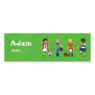 Football Soccer boys party loot bag thank you Pack Of Skinny Business Cards