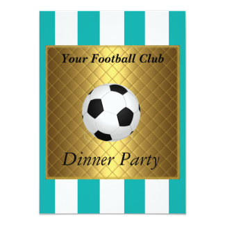 """Football Soccer Dinner party white teal 4.5"""" X 6.25"""" Invitation Card"""