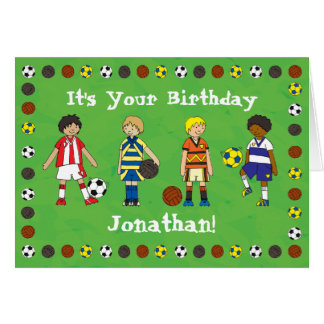 Football Soccer personalised birthday card