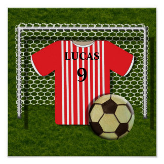 Football Soccer Shirt Red Personalized Poster