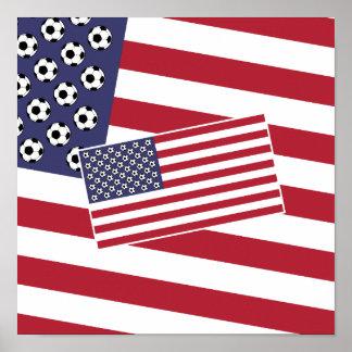 Football Soccer Stars and Stripes Flag Poster
