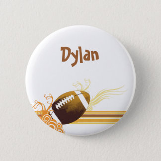 Football Sports Ball Game Personalised Name 6 Cm Round Badge