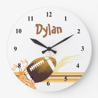 Football Sports Ball Game Personalised Name Large Clock