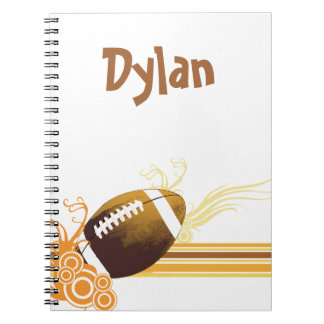 Football Sports Ball Game Personalised Name Spiral Notebook