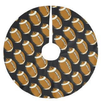Football Sports Black and Brown Tree Skirt Brushed Polyester Tree Skirt