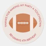 Football Sports Theme Birthday Round Sticker