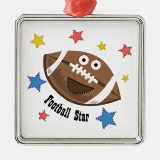 Football Star Square Metal Christmas Ornament