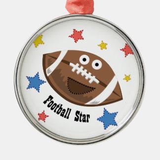 Football Star Round Metal Christmas Ornament