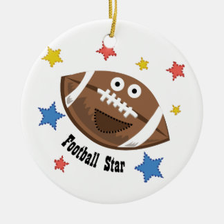 Football Star Double-Sided Ceramic Round Christmas Ornament
