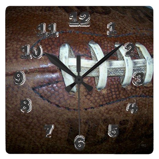 Football Stitches Square Wall Clock