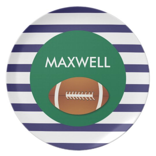 Football Stripes - Personalised Melamine Plate