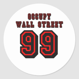 Football style: Occupy Wall Street - 99 Round Stickers
