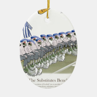 football substitutes blue white stripes christmas ornament