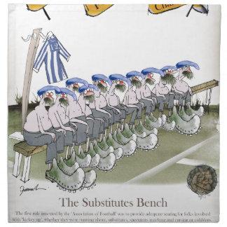 football substitutes blue white stripes napkin
