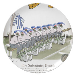 football substitutes blue white stripes plate