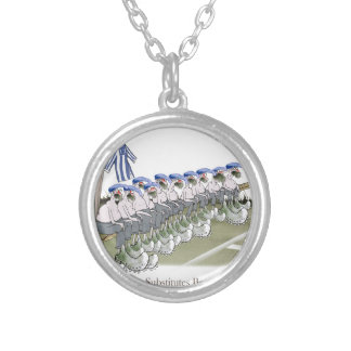football substitutes blue white stripes silver plated necklace