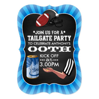 Football Tailgate Birthday Party Retro Chalkboard 5x7 Paper Invitation Card
