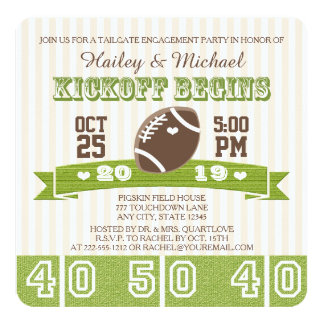 FOOTBALL TAILGATE ENGAGEMENT PARTY 5.25X5.25 SQUARE PAPER INVITATION CARD