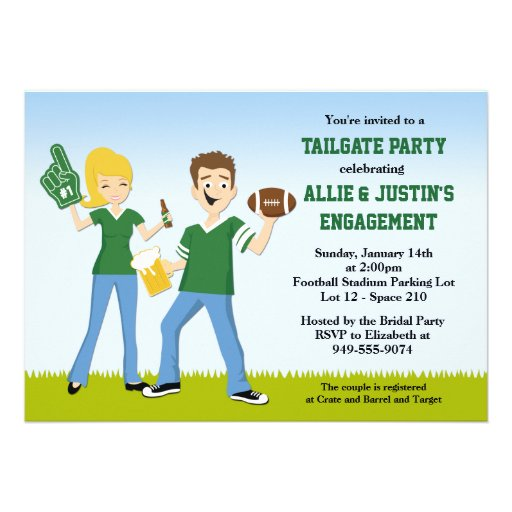 Football Tailgate Engagement Party Invitation