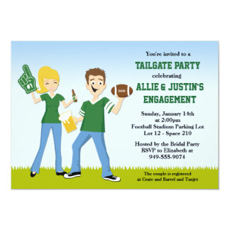 "Football Tailgate Engagement Party Invitation 5"" X 7"" Invitation Card"