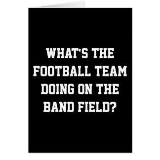 Football team on band field greeting card