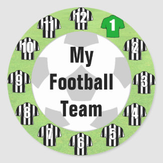 Football Team Stickers with Black & White Shirts