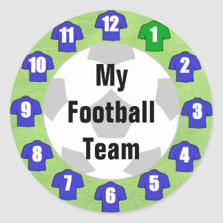Football Team Stickers with Blue Shirts