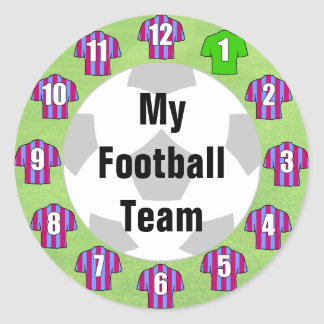 Football Team Stickers with Claret & Blue Shirts