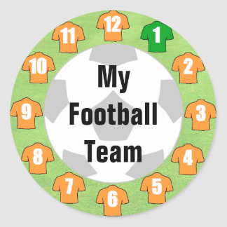 Football Team Stickers with Orange Gold Shirts