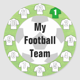 Football Team Stickers with White Shirts