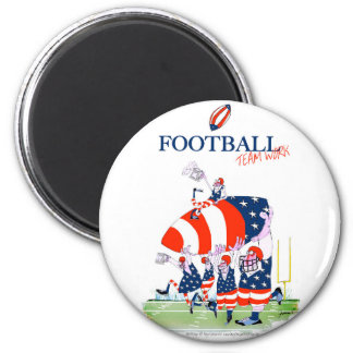 Football team work, tony fernandes 6 cm round magnet