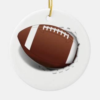 Football Tearing Out Round Ceramic Decoration