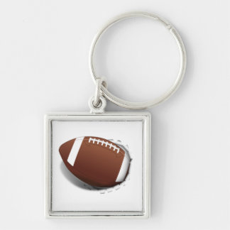 Football Tearing Out Silver-Colored Square Key Ring