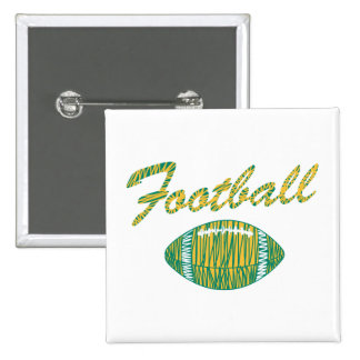 football text and ball orange gold and green 15 cm square badge