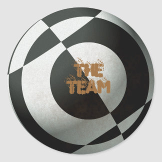 Football The Team Black & White Round Sticker