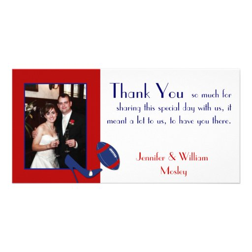 Football Theme Wedding Photo Thank You Card Picture Card