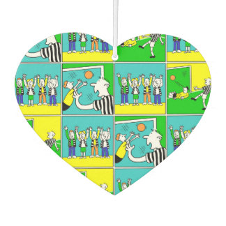 Football Theme with cartoon players and fans Car Air Freshener